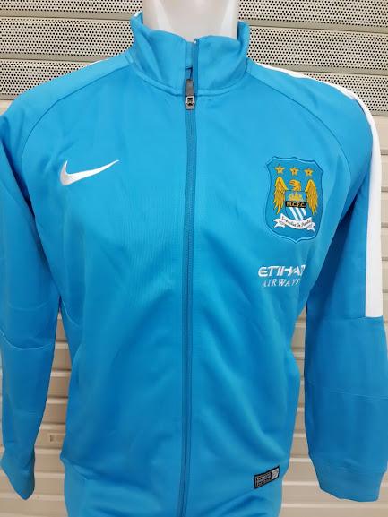 Jual Jaket Manchester City Etihad Airways Biru Muda List Putih 2014-2015