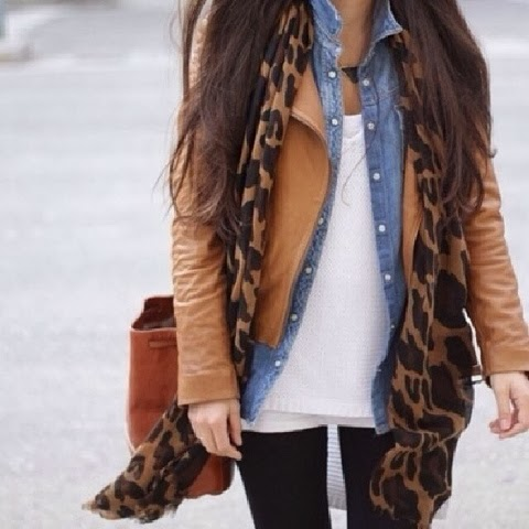 Cheetah skin scarf, brown jacket, blue shirt and white blouse combination for fall