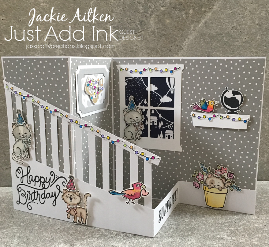 stampin up bella and friends stamp set, bookcase builder, Pretty Kitty, Fancy Fold Card, birthday delivery