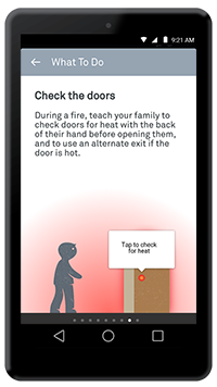 "Nest app ""What to do in a fire"" screen"