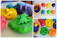 Fun Dinosaur Color Sorting with Homemade Playdough Recipe