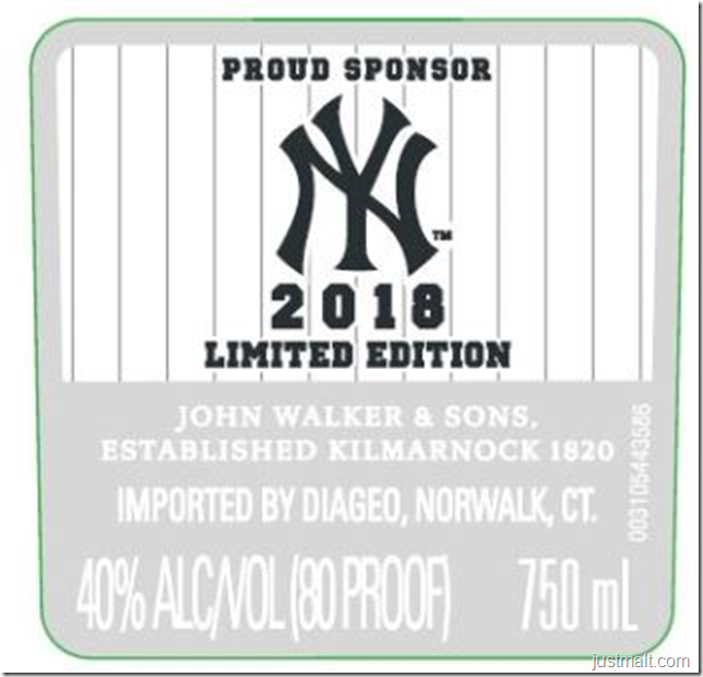 Johnnie Walker Black label 12-Year 2018 NY Yankees Edition