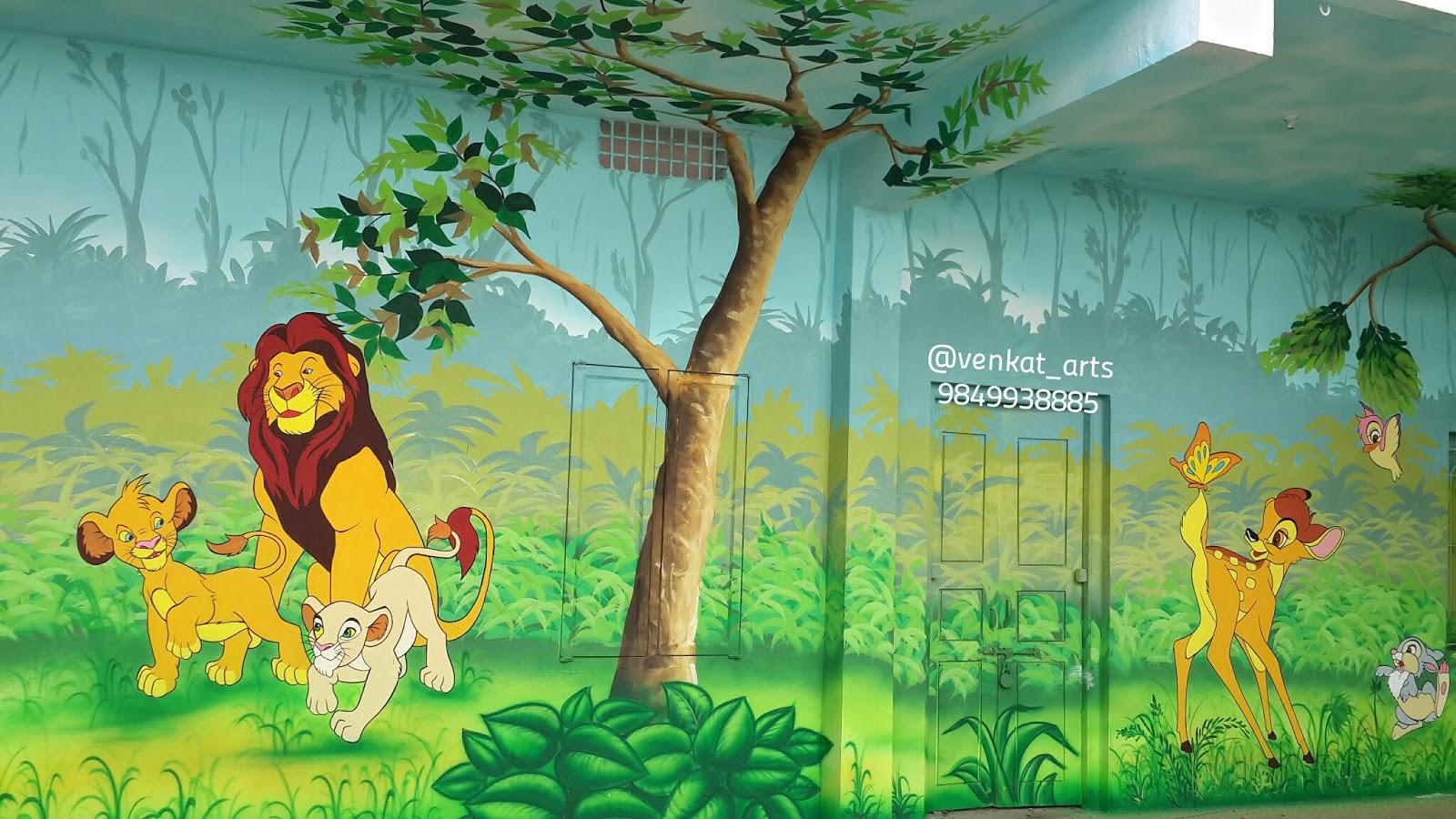 Play School Wall Painting Gadapa Muggu Designs By Venkat Arts