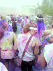 Colorful runners heading to the finish line!