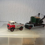 This one bares my own fictitious livery but is based on an AEC Mandator prime mover I saw at an AEC Society rally. The body is scratch built and the low loader is also an RTI model the 19RB load is a Langley Models kit.