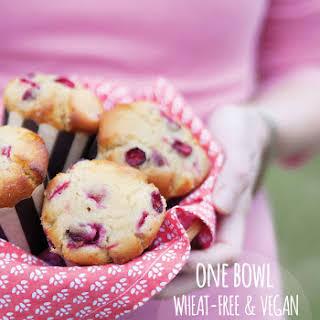 Wheat-free Vegan Cranberry Lemon Muffins.