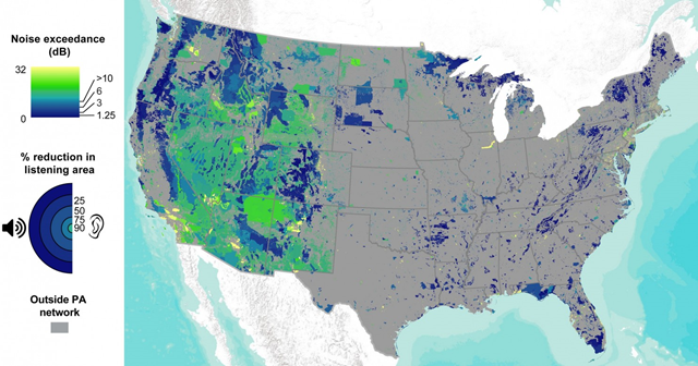 Median noise exceedance (the amount that human noises increase sound levels above the natural level) in protected area units across the contiguous United States. Percent reduction in listening area refers to the reduction in distance at which a person can hear natural sounds due to noise pollution. Gray areas are outside the protected area network. Graphic: R.T. Buxton, et al., 2017 / Science