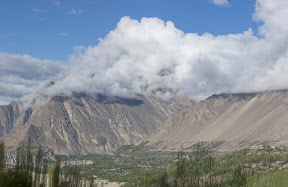 Day-1 in Hunza: A cloudy morning in Hunza valley, view from Hilltop hotel, Karimabad
