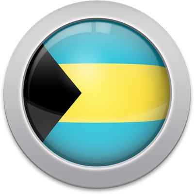 Bahamian flag icon with a silver frame