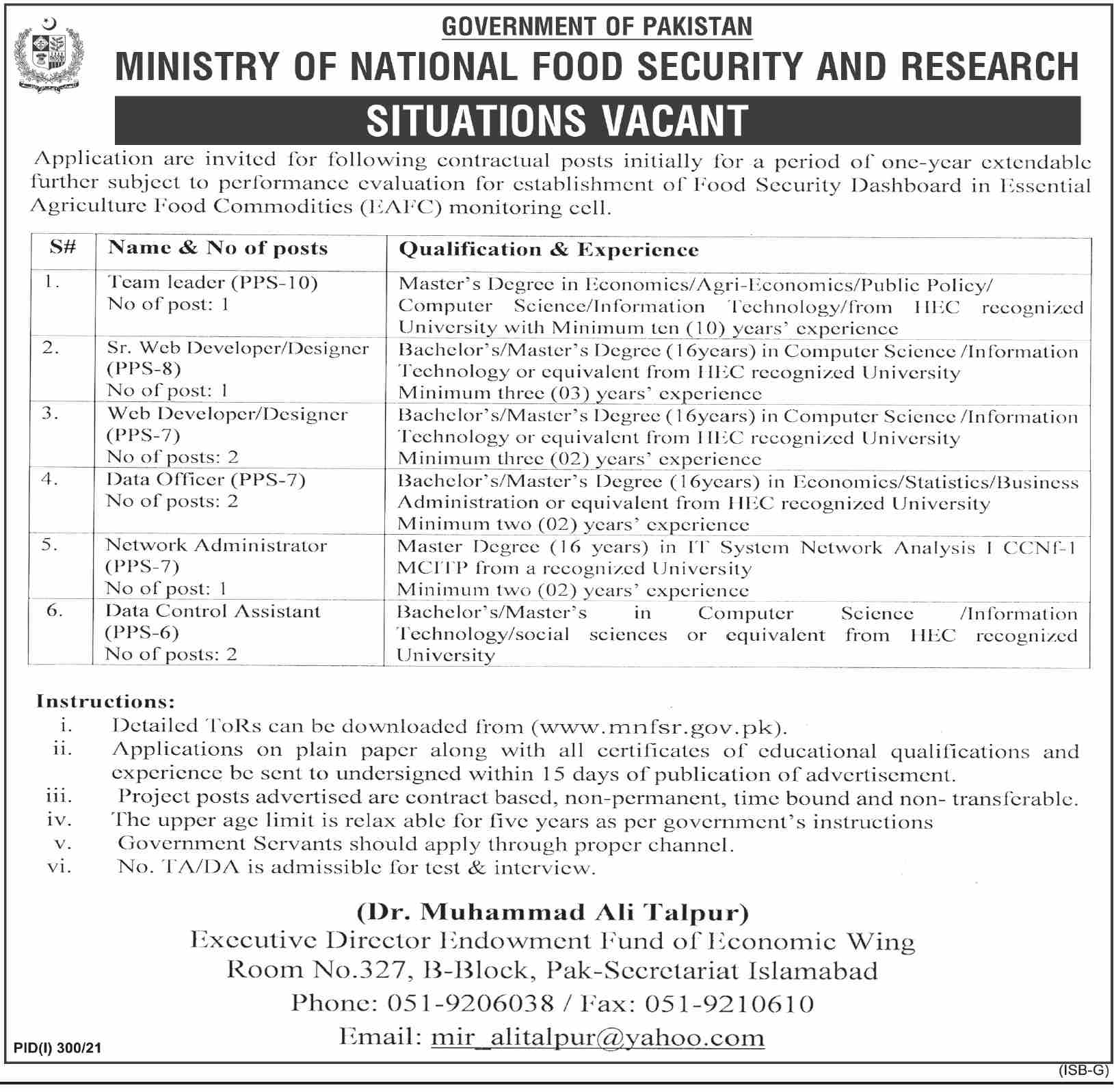 Ministry of National Food Jobs 2021 Latest Advertisement