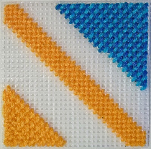 4-way bargello stitch sampler #2, basketweave stitch
