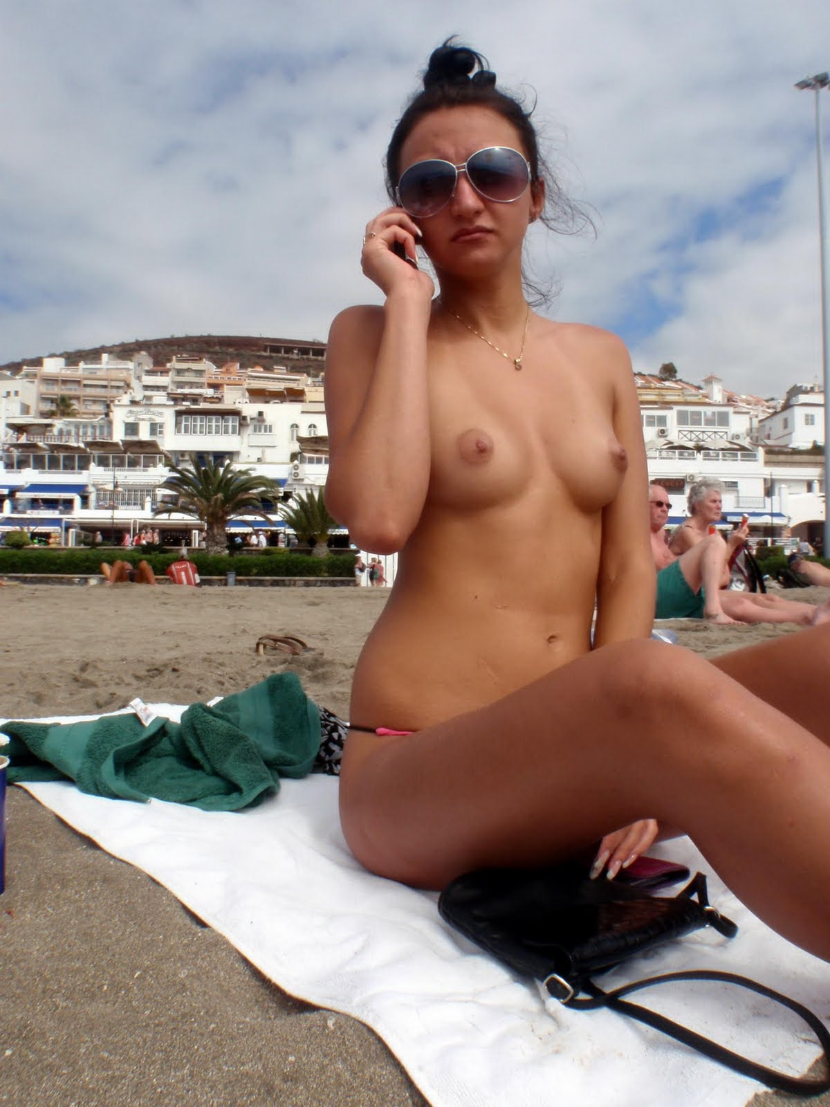 Sexy European Brunette Topless On Vacation At The Beach -3031