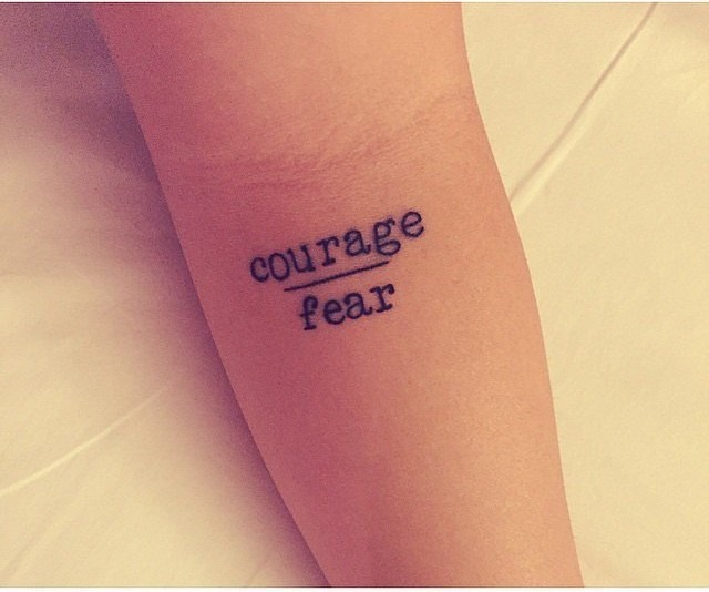 Courage & Fear Tattoo Design on Hand