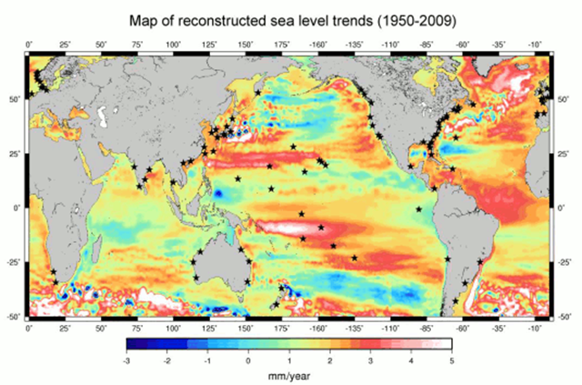 Location map of the 91 tide gauges (stars) used in the global sea level reconstruction. The background map shows the sea level trends over 1950–2009 from DRAKKAR-based (an ocean model) reconstruction of sea level (uniform trend of 1.8 mm/yr included). Graphic: Becker (2011)