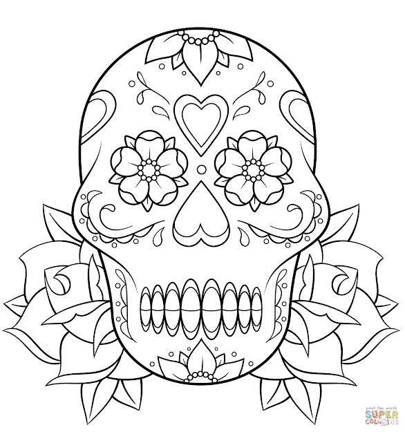 Click The Sugar Skull And Roses Coloring Pages To View Printable Version Or  Color It Online Patible With Ipad And Android Tablets
