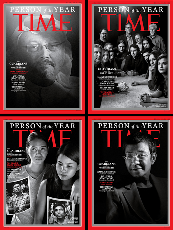 Magazine covers for TIME's Person of the Year 2018: 'The Guardians and the War on Truth'. Clockwise from upper-left: Jamal Khashoggi; the Annapolis, Maryland, staff of the 'Capital Gazette,'; Chit Su Win and Pan Ei Mon hold photos of their husbands, Reuters reporters Kyaw Soe Oo and Wa Lone; Maria Ressa, co-founder of the news site Rappler. Photo: Moises Saman / Magnum / TIME