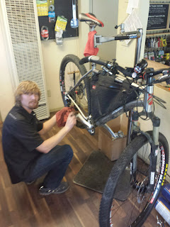 Eric Nelson (Tour Divide 2010 buddy) of Wrightwood Cyclery built my dynamo wheel and setup my light.