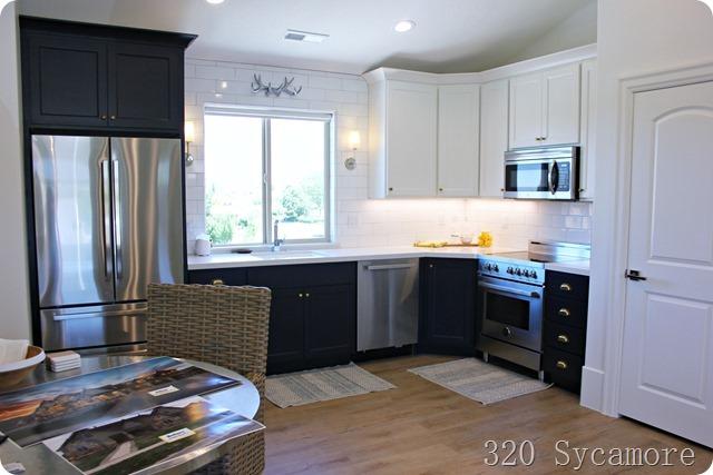 basement navy white kitchen