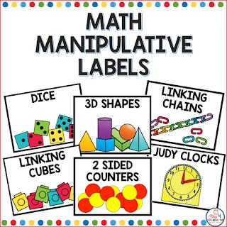 math manipulative labels for organizing