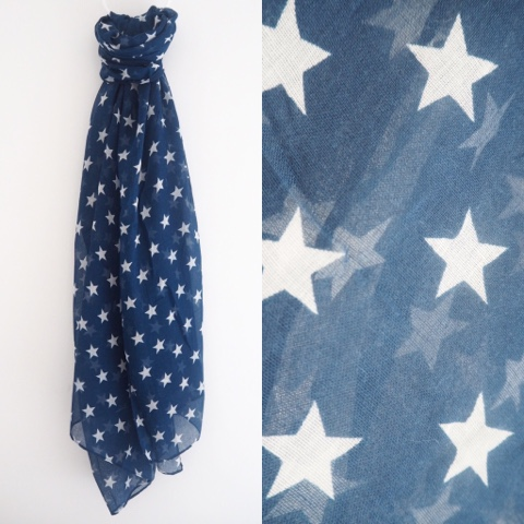 Navy blue scarf with white stars
