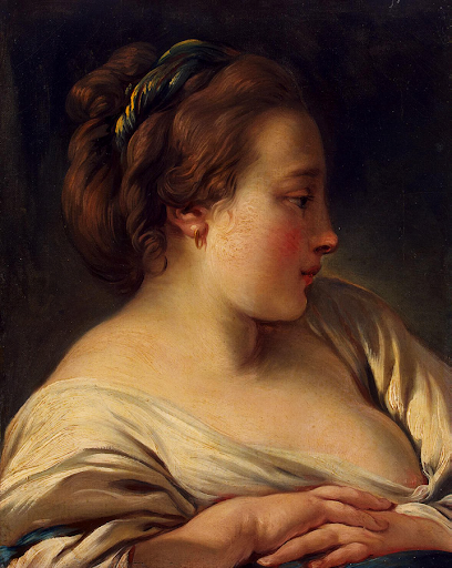 Head of a Young Girl, c1740s - 1750s. Oil on canvas. By Francois Boucher