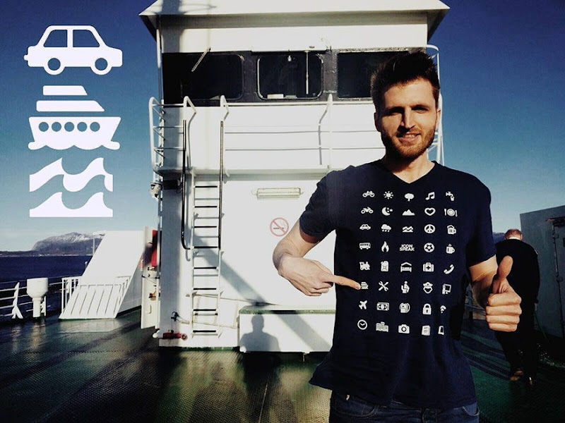 iconspeak travel shirt with 40 icons