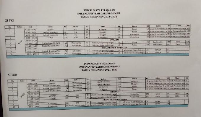 Jadwal Pelajaran Kelas XI TKJ dan TKR - SMK Sadpas 2021-2022