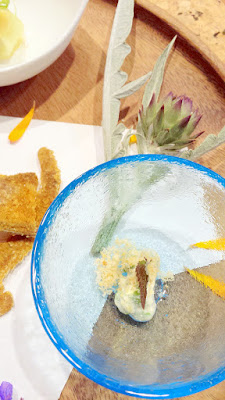 Bone crackers with horse mackerel that are dried, deep fried and finished with curry salt; Fava bean salad with tofu at Nodoguro SupaHardCore May 29, 2016