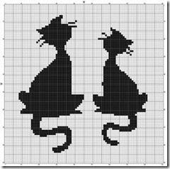 siluetas gatos punto de cruz monocromo  (19)