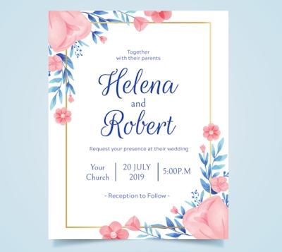 Membuat Undangan Pernikahan Simple Flower pink | Kaina Studios