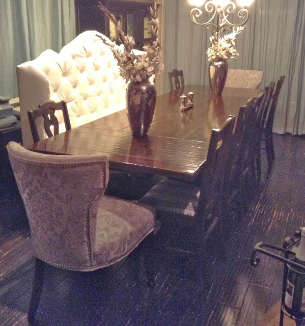 Sliver Grey Damask Chairs, Cynthia Rowley; From HomeGoods. Large Vases And  White Foliage, ZGallerie. Dark Cabinets, Tai Pan Trading