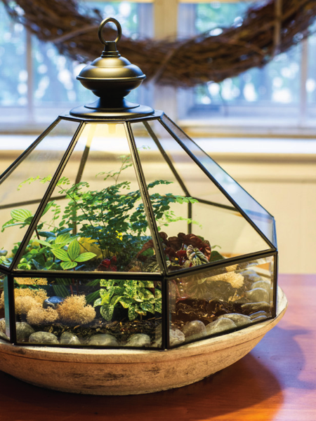 Garden cloche from old chandelier