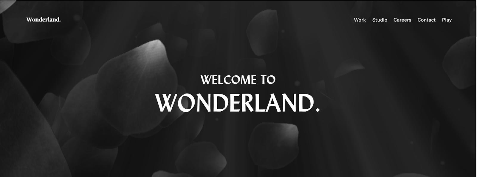 Screenshot of wonderland design studio homepage