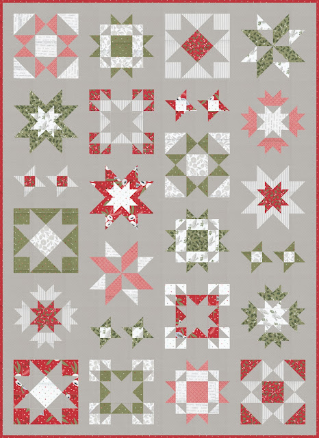 Clear Sky quilt pattern by Andy of A Bright Corner - a modern sampler style star quilt in Christmas Morning fabrics from Moda Fabrics