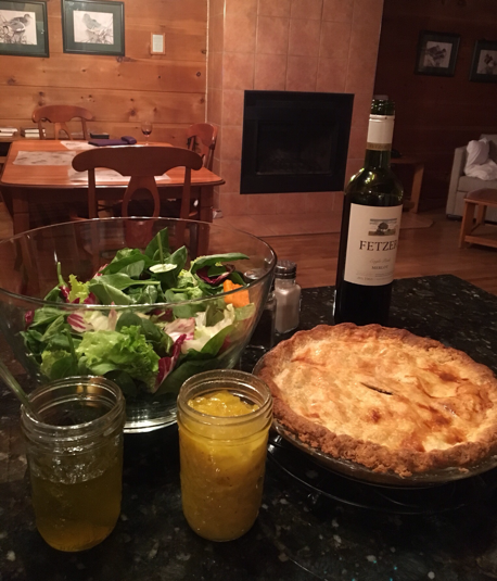 Homemade Tourtière and fixings