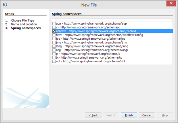 Agregar namespaces o esquemas spring framework