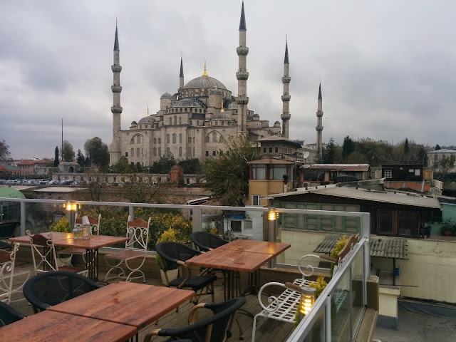 Sultanahmet blue mosque from the terrace of Nobel Hostel