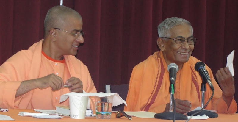 Swami Brahmarupananda reacts to a question
