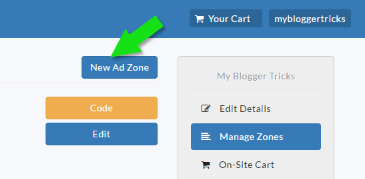Create new Ad Zone in AdClerks