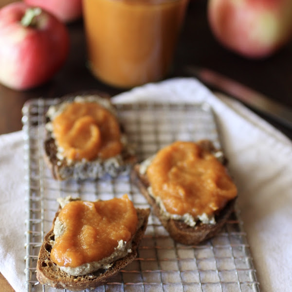 toast slathered with pumpkin apple butter