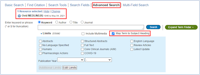 Advanced search tab in Ovid MEDLINE database