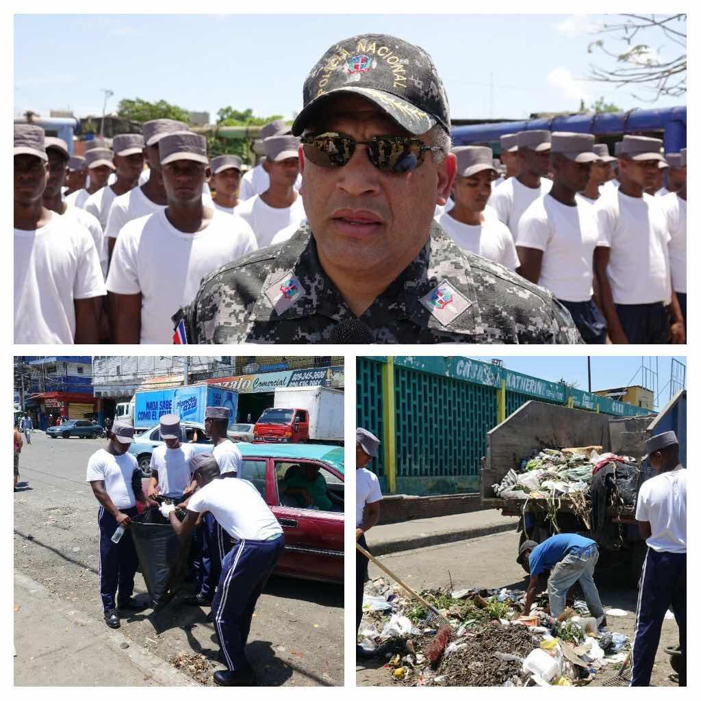 Policía Nacional participa en labores de limpieza en el barrio La Zurza