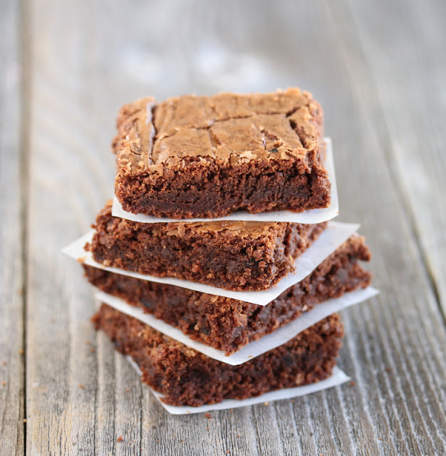 close-up photo of a stack of Fudgy and Chewy Brownies