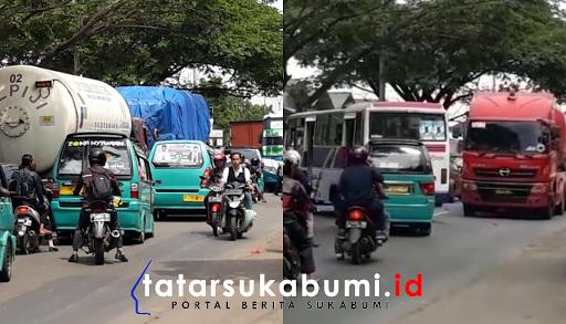 Gara-gara Sopir Ngeblong, Jalur Sukabumi - Cibadak Macet