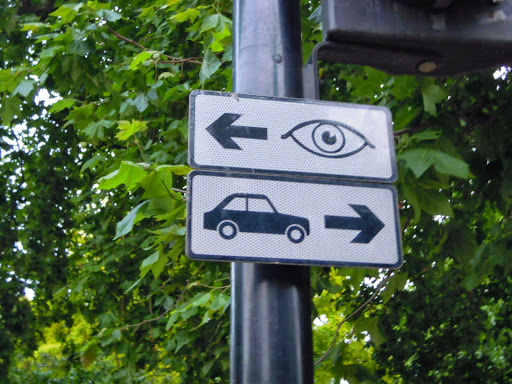 Crosswalk sign to help you look in the right direction in London
