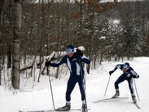 Bemidji skiers coming up Suicide Hill.
