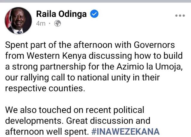 Raila Odinga hosts all Western region governors