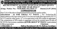 North Eastern Railway Corrigendum 2016