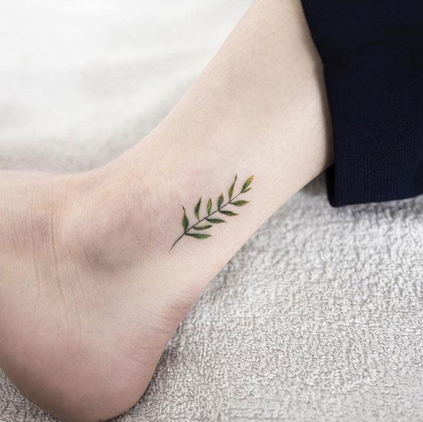 Esta folha no tornozelo