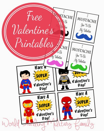 Free Valentines Day Card Printables - Mustaches  Super Heroes